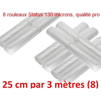 Lot de 8 rouleaux Gaufrés sous vide 25 cm x 3 mètres.Top qualité professionnelle : 100/130 microns. Programme de Fidélité ! 100% compatible avec toutes les machines !