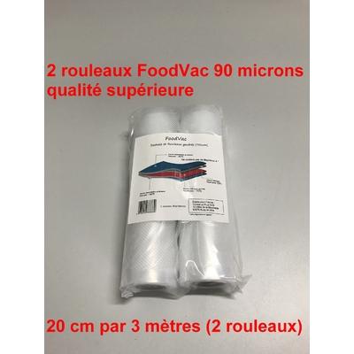 2 Rouleaux gaufrés 20 cm / 3 mètres.  90 microns qualité supérieure, compatible avec toutes les machines à aspiration externe (Reber, Status, Foodsaver, Orved, Silvercrest...)