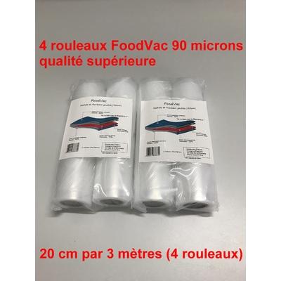 4 Rouleaux gaufrés 20 cm / 3 mètres.  90 microns qualité supérieure, compatible avec toutes les machines à aspiration externe