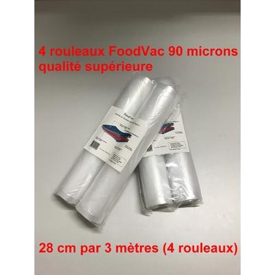 4 Rouleaux gaufrés 28 cm / 3 mètres.  90 microns qualité supérieure, compatible avec toutes les machines à aspiration externe (Reber, Status, Foodsaver, Orved, Silvercrest...)