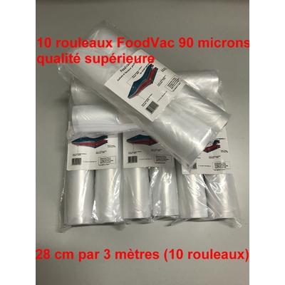 10 Rouleaux gaufrés 28 cm / 3 mètres.  90 microns qualité supérieure, compatible avec toutes les machines à aspiration externe (Reber, Status, Foodsaver, Orved, Silvercrest...)