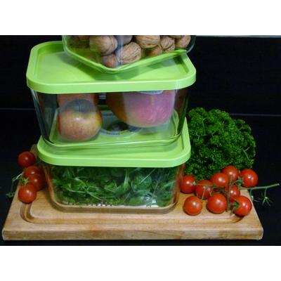 Lot de 3 boites sous vides en verre Status 3 litres - coloris vert pomme ou blanc