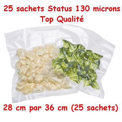 Sacs Gaufrés (25 sachets) sous vide 28 cm (ouverture)  x 36 cm. Top qualité : 100/130 microns. 100% compatible avec toutes les machines (Reber, Status, Foodsaver, Orved, Figuine, Takaje, Vacsy, FoodVac...).