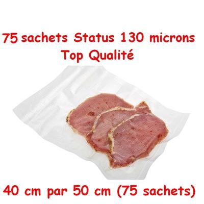 3 paquets de 25 sachets gaufrés status (40 ouverture / 50 cm longueur). Qualité pro , compatibles avec toutes les machines sous vide.(status, silvercrest, orved, foodsaver, reber, sico...)