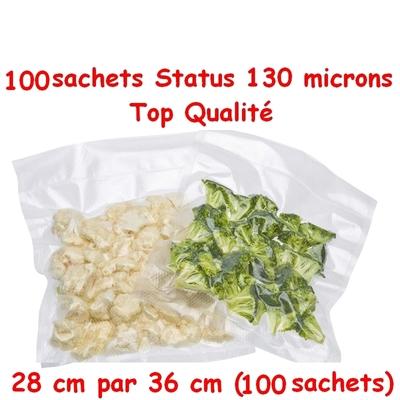 Lot de 4 paquets de Sacs Gaufrés(4 paquets de 25 sachets) sous vide 28 cm (ouverture)  x 36 cm. Top qualité : 100/130 microns. 100% compatible avec toutes les machines (Reber, Status, Foodsaver, Orved, Figuine, Takaje, Vacsy, FoodVac...).