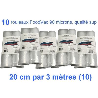 10 Rouleaux gaufrés 20 cm / 3 mètres.  90 microns qualité supérieure, compatible avec toutes les machines à aspiration externe (Reber, Status, Foodsaver, Orved, Silvercrest...)