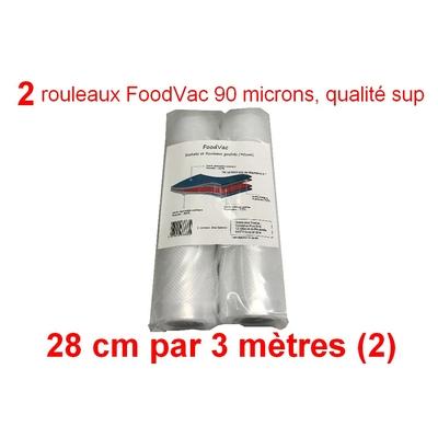 2 Rouleaux gaufrés 28 cm / 3 mètres.  90 microns qualité supérieure, compatible avec toutes les machines à aspiration externe (Reber, Status, Foodsaver, Orved, Silvercrest...)
