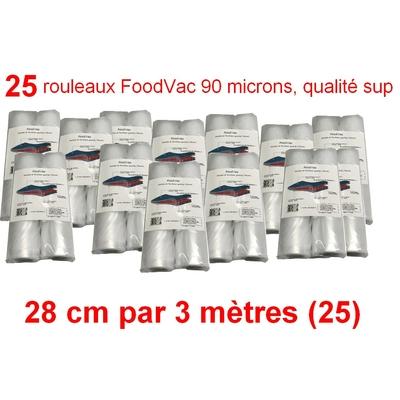 25 Rouleaux gaufrés 28 cm / 3 mètres. 90 microns qualité supérieure, compatible avec toutes les machines à aspiration externe (Reber, Status, Foodsaver, Orved, Silvercrest...)
