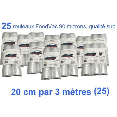 25 Rouleaux gaufrés 20 cm / 3 mètres. 90 microns qualité supérieure, compatible avec toutes les machines à aspiration externe (Reber, Status, Foodsaver, Orved, Silvercrest...)