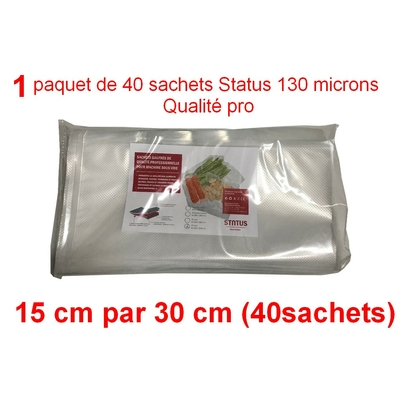 1 paquet de 40 sachets sous vide 15 cm (ouverture) x 30 cm. Top qualité : 100/130 microns. 100% compatible avec toutes les machines (Reber, Status, Foodsaver, Orved, silvercrest, Vacsy, FoodVac, sico...).