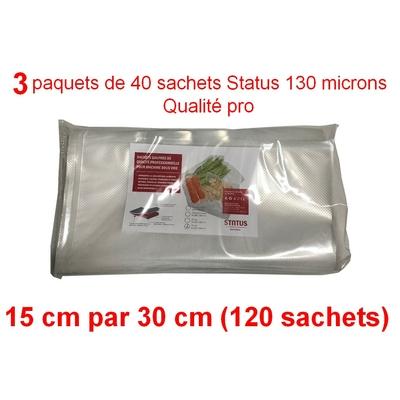 3 paquets de 40 sachets sous vide 15 cm (ouverture) x 30 cm (120 sachets). Top qualité : 100/130 microns. 100% compatible avec toutes les machines.(Reber, Status, Foodsaver, Orved, silvercrest, Vacsy, FoodVac, sico...).