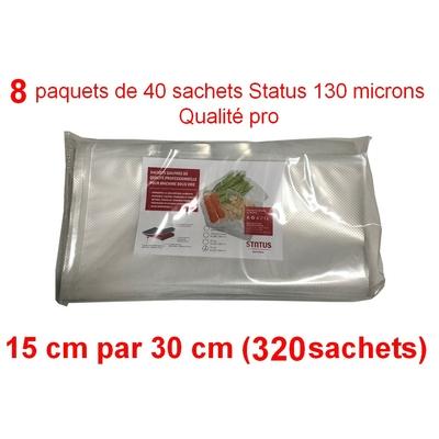8 paquets de 40 sachets sous vide 15 cm (ouverture) x 30 cm. Top qualité : 100/130 microns. 100% compatible avec toutes les machines (Reber, Status, Foodsaver, Orved, silvercrest, Vacsy, FoodVac, sico...).