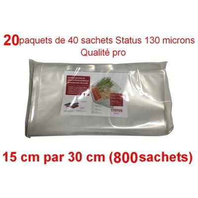 20 paquets de 40 sachets sous vide 15 cm (ouverture) x 30 cm. Top qualité : 100/130 microns. 100% compatible avec toutes les machines (Reber, Status, Foodsaver, Orved, silvercrest, Vacsy, FoodVac, sico...).