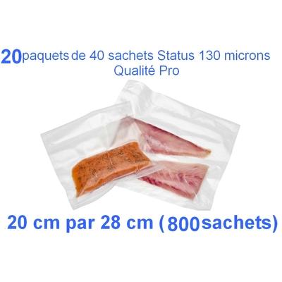 20 paquets de 40 sachets sous vide 20 cm (ouverture) x 28 cm. Top qualité : 100/130 microns. 100% compatible avec toutes les machines (Reber, Status, Foodsaver, Orved, silvercrest, Vacsy, FoodVac, sico...).