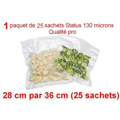 1 paquet de 25 sachets sous vide 28 cm (ouverture) x 36 cm. Top qualité : 100/130 microns. 100% compatible avec toutes les machines (Reber, Status, Foodsaver, Orved, silvercrest, Vacsy, FoodVac, sico...).