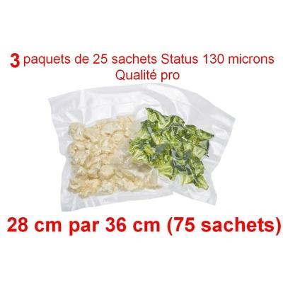 3 paquets de 25 sachets sous vide 28 cm (ouverture) x 36 cm. Top qualité : 100/130 microns. 100% compatible avec toutes les machines (Reber, Status, Foodsaver, Orved, silvercrest, Vacsy, FoodVac, sico...).