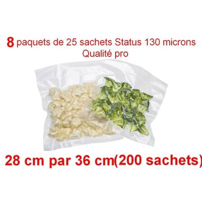 8 paquet de 25 sachets sous vide 28 cm (ouverture) x 36 cm. Top qualité : 100/130 microns. 100% compatible avec toutes les machines (Reber, Status, Foodsaver, Orved, silvercrest, Vacsy, FoodVac, sico...).