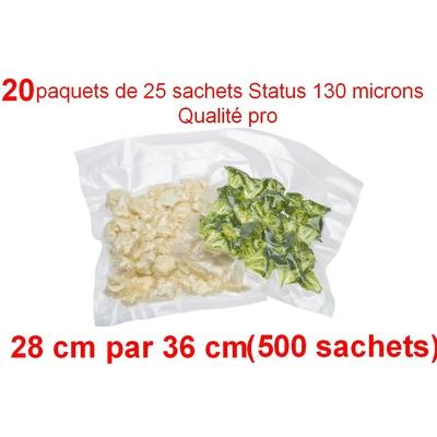 20 paquets de 25 sachets sous vide 28 cm (ouverture) x 36 cm. Top qualité : 100/130 microns. 100% compatible avec toutes les machines (Reber, Status, Foodsaver, Orved, silvercrest, Vacsy, FoodVac, sico...).