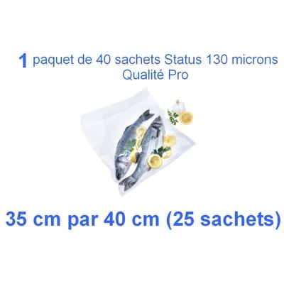 1 paquet de 25 sachets sous vide 35 cm (ouverture) x 40 cm. Top qualité : 100/130 microns. 100% compatible avec toutes les machines (Reber, Status, Foodsaver, Orved, silvercrest, Vacsy, FoodVac, sico...).