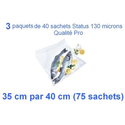 3 Paquets de 25 sachets gaufrés sous vide 35 cm (ouverture) x 40 cm. Top qualité : 100/130 microns. 100% compatible avec toutes les machines (Reber, Status, Foodsaver, Orved, silvercrest, Vacsy, FoodVac, sico...).