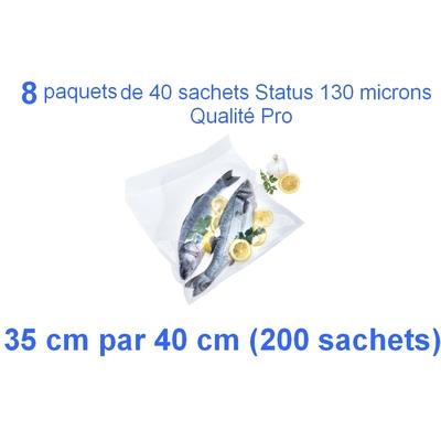 8 paquets de 25 sachets sous vide 35 cm (ouverture) x 40 cm. Top qualité : 100/130 microns. 100% compatible avec toutes les machines (Reber, Status, Foodsaver, Orved, silvercrest, Vacsy, FoodVac, sico...).