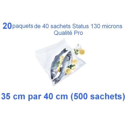 20 paquets de 25 sachets sous vide 35 cm (ouverture) x 40 cm. Top qualité : 100/130 microns. 100% compatible avec toutes les machines (Reber, Status, Foodsaver, Orved, silvercrest, Vacsy, FoodVac, sico...).