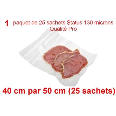 1 paquet de 25 sachets sous vide 40 cm (ouverture) x 50 cm. Top qualité : 100/130 microns. 100% compatible avec toutes les machines (Reber, Status, Foodsaver, Orved, silvercrest, Vacsy, FoodVac, sico...).