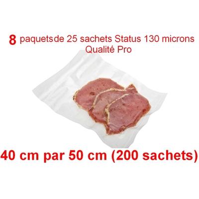 8 paquets de 25 sachets sous vide 40 cm (ouverture) x 50 cm. Top qualité : 100/130 microns. 100% compatible avec toutes les machines (Reber, Status, Foodsaver, Orved, silvercrest, Vacsy, FoodVac, sico...).