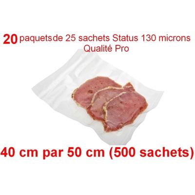 20 paquets de 25 sachets sous vide 40 cm (ouverture) x 50 cm. Top qualité : 100/130 microns. 100% compatible avec toutes les machines (Reber, Status, Foodsaver, Orved, silvercrest, Vacsy, FoodVac, sico...).