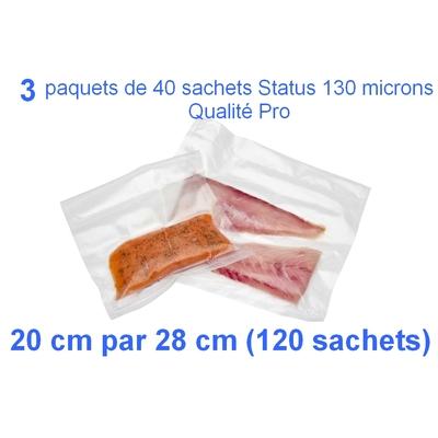 3 paquets de 40 sachets sous vide 20 cm (ouverture) x 28 cm. Top qualité : 100/130 microns. 100% compatible avec toutes les machines (Reber, Status, Foodsaver, Orved, silvercrest, Vacsy, FoodVac, sico...).