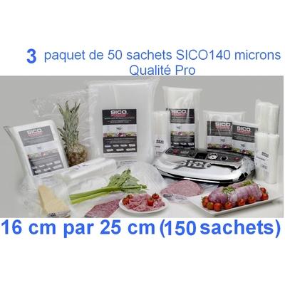 3 paquets de 50 sachets sous vide SICO 16cm (ouverture) x 25 cm. Top qualité : 140/140 microns. 100% compatible avec toutes les machines (sico,Reber, Status, Foodsaver, Orved, Figuine, Takaje, Vacsy, FoodVac...).