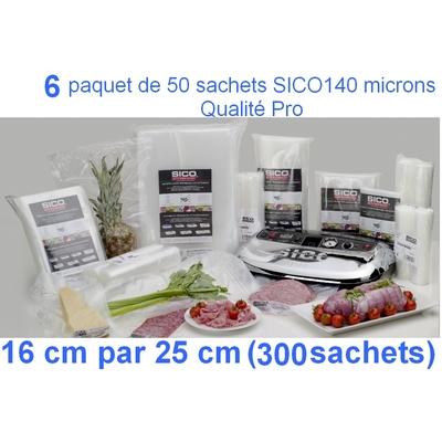 6 paquets de 50 sachets sous vide SICO 16cm (ouverture) x 25 cm. Top qualité : 140/140 microns. 100% compatible avec toutes les machines (sico,Reber, Status, Foodsaver, Orved, Figuine, Takaje, Vacsy, FoodVac...).