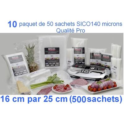 10 paquets de 50 sachets sous vide SICO 16cm (ouverture) x 25 cm. Top qualité : 140/140 microns. 100% compatible avec toutes les machines (sico,Reber, Status, Foodsaver, Orved, Figuine, Takaje, Vacsy, FoodVac...).