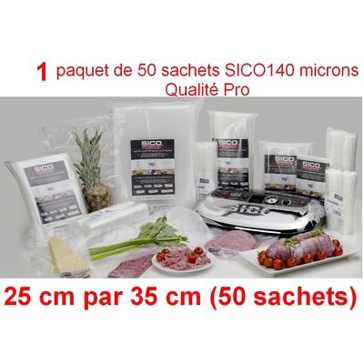 1 paquet de 50 sachets sous vide SICO  25cm (ouverture)  x 35 cm. Top qualité : 140/140 microns. 100% compatible avec toutes les machines (sico,Reber, Status, Foodsaver, Orved, Figuine, Takaje, Vacsy, FoodVac...).