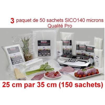 3 paquet de 50 sachets sous vide SICO 25cm (ouverture) x 35 cm. Top qualité : 140/140 microns. 100% compatible avec toutes les machines (sico,Reber, Status, Foodsaver, Orved, Figuine, Takaje, Vacsy, FoodVac...).
