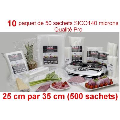10 paquet de 50 sachets sous vide SICO 25cm (ouverture) x 35 cm. Top qualité : 140/140 microns. 100% compatible avec toutes les machines (sico,Reber, Status, Foodsaver, Orved, Figuine, Takaje, Vacsy, FoodVac...).