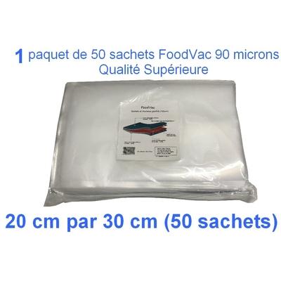 1 paquet de 50 sachets gaufrés FoodVac 20cm / 30 cm.  90 microns qualité supérieure, compatible avec toutes les machines à aspiration externe (Reber, Status, Foodsaver, Orved, Silvercrest...)