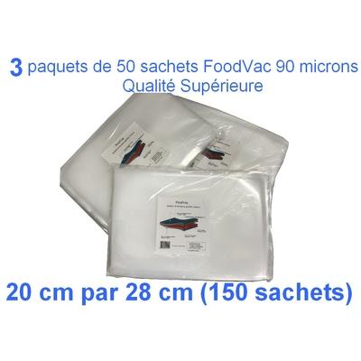 3 paquets de 50 sachets gaufrés FoodVac 20cm / 30 cm.  90 microns qualité supérieure, compatible avec toutes les machines à aspiration externe (Reber, Status, Foodsaver, Orved, Silvercrest...)