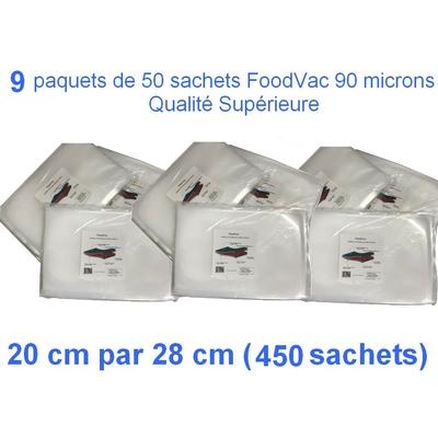 9 paquets de 50 sachets gaufrés FoodVac 20cm / 30 cm. 90 microns qualité supérieure, compatible avec toutes les machines à aspiration externe (Reber, Status, Foodsaver, Orved, Silvercrest...)