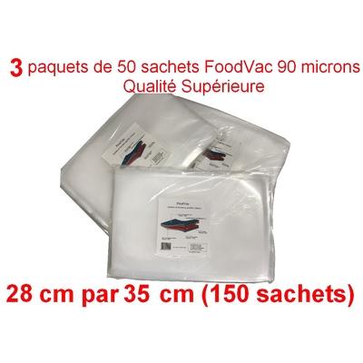3 paquets de 50 sachets gaufrés FoodVac 28cm / 35 cm.  90 microns qualité supérieure, compatible avec toutes les machines à aspiration externe (Reber, Status, Foodsaver, Orved, Silvercrest...)