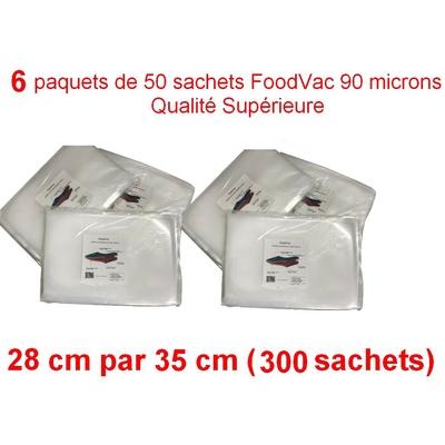 6 paquets de 50 sachets gaufrés FoodVac 28cm / 35 cm. 90 microns qualité supérieure, compatible avec toutes les machines à aspiration externe (Reber, Status, Foodsaver, Orved, Silvercrest...)