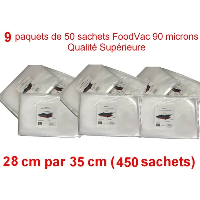 9 paquets de 50 sachets gaufrés FoodVac 28cm / 35 cm. 90 microns qualité supérieure, compatible avec toutes les machines à aspiration externe (Reber, Status, Foodsaver, Orved, Silvercrest...)