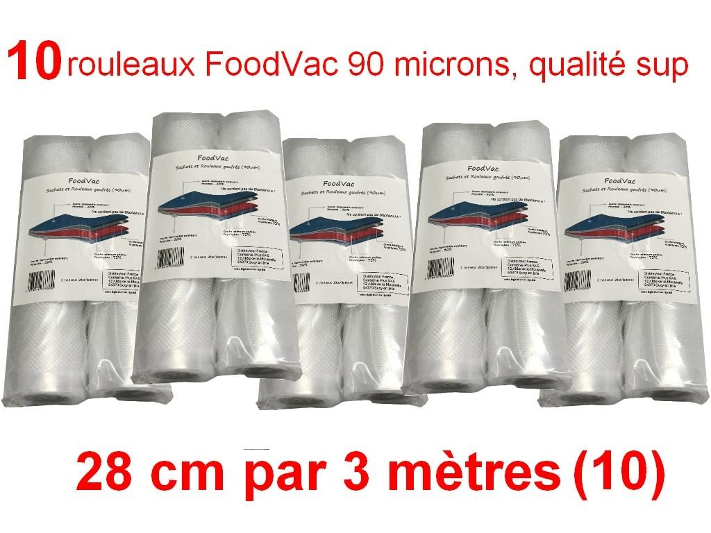 10 rouleaux foodvac 28cm par 3 mètres
