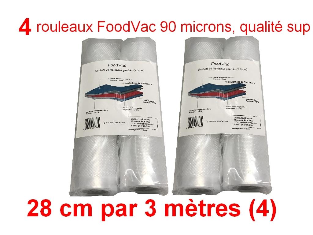 4 rouleaux foodvac 28cm par 3 mètres