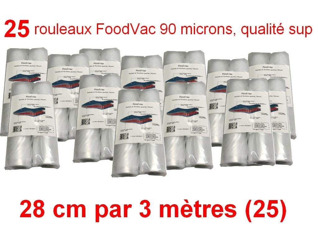 25 rouleaux foodvac 28 cm par 3 mètres
