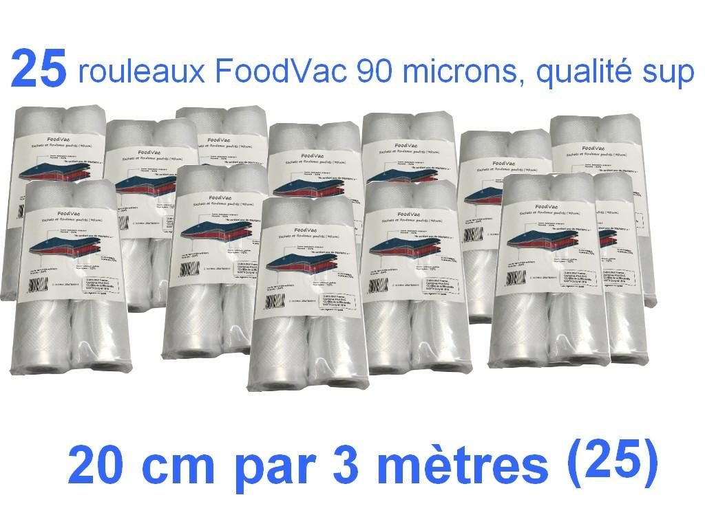 25 rouleaux foodvac 20cm par 3 mètres