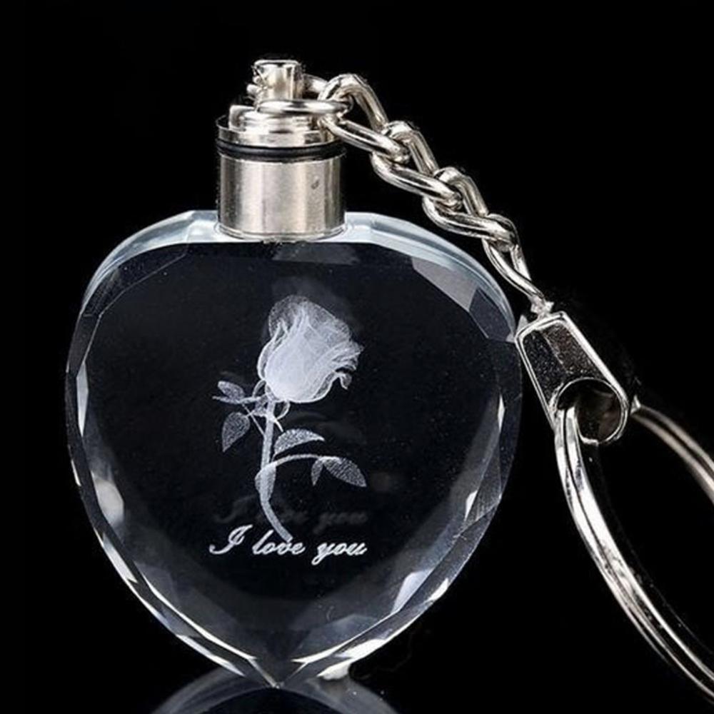 porte_cle_cristal_transparent_rose_fleur