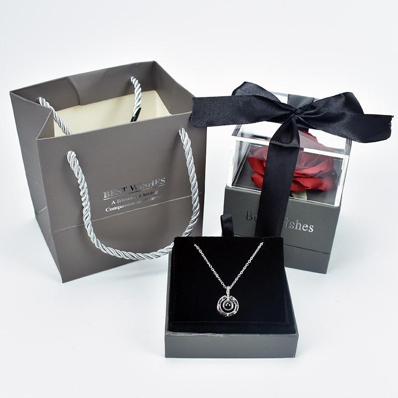 Coffret Cadeau Rose Éternelle + Collier Je t\'aime 100 Langues