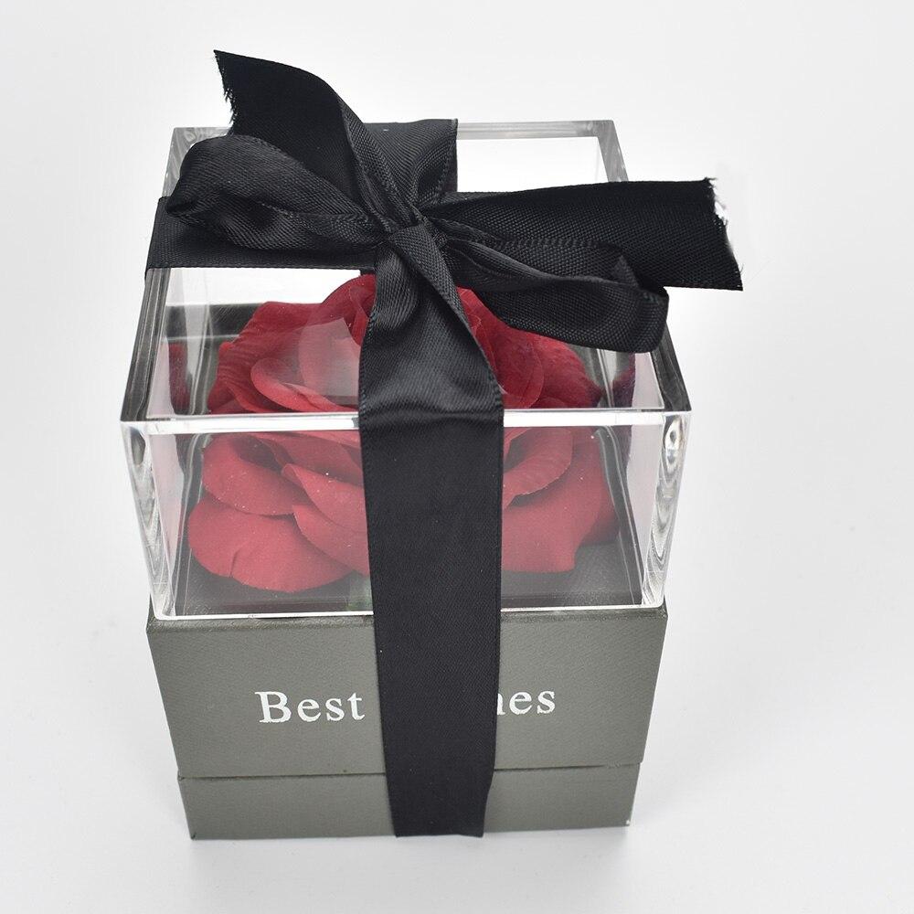 """Coffret Cadeau Rose Éternelle + Collier """"Je t'aime"""" 100 Langues"""