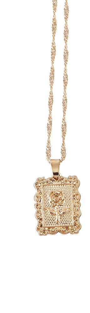 Collier Pendentif Rectangle Rose Fleur Or